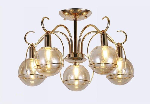 Pendente 35×52cm Metal e Vidro Dourado E27×5