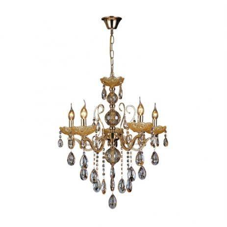 Pendente 55×60cm Cristal e Metal Dourado E14×5