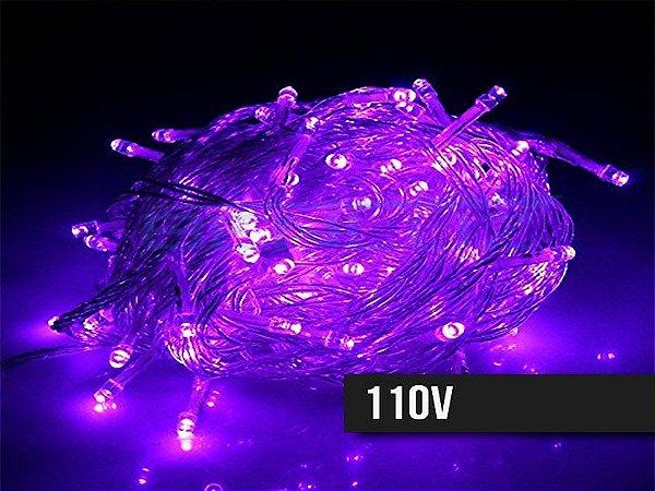 Cordão Fixo 100 LEDs Fio Transparente 9,5 Metros Roxo 110V
