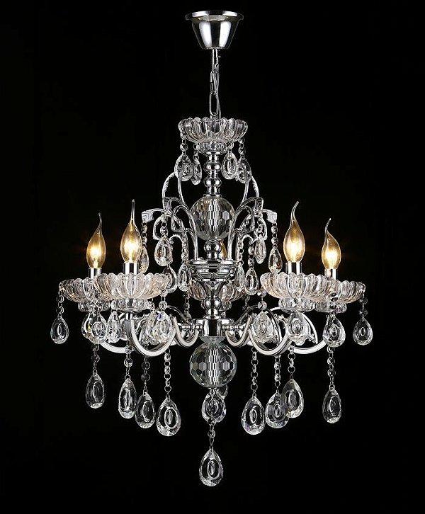 Pendente 55×55cm Cristal e Metal Cromado E14×5