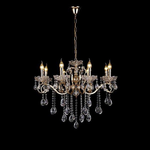 Pendente 72×60cm Cristal e Metal Dourado E14×8
