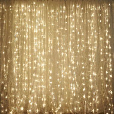 Cortina de LED Fixo 300 LEDs Fio Branco 3x2 metros Branco Morno 127V