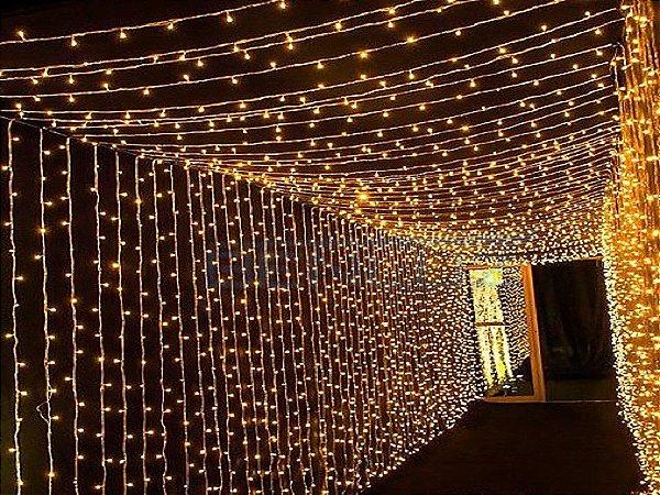 Cortina de LED Fixo 900 LEDs Fio Branco 4x3 metros Branco morno 220V