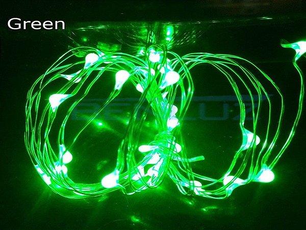 Cordão de Cobre 30 LEDs Fio de Fada 3 metros verde Pilha