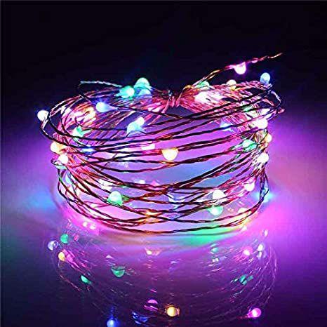 Cordão de cobre 50 LEDs fio de fada 5 metros colorido pilha