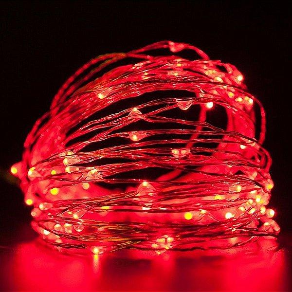 Cordão de cobre 100 LEDs fio de fada 10 metros vermelha pilha