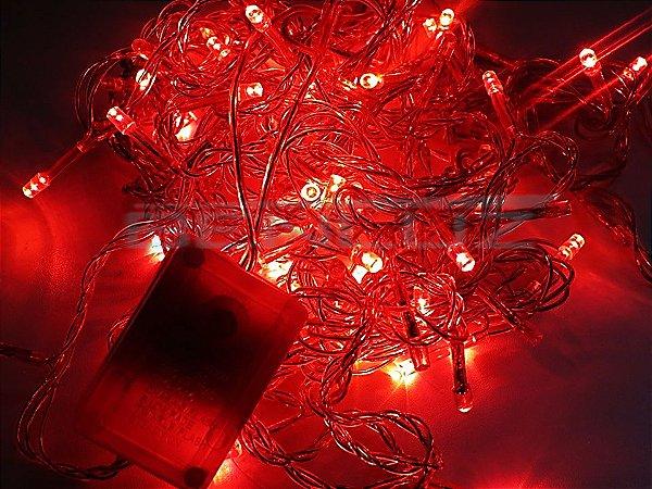 Cordão sequencial 100 LEDs Fio Vermelho 9,2 Metros Vermelho 220V