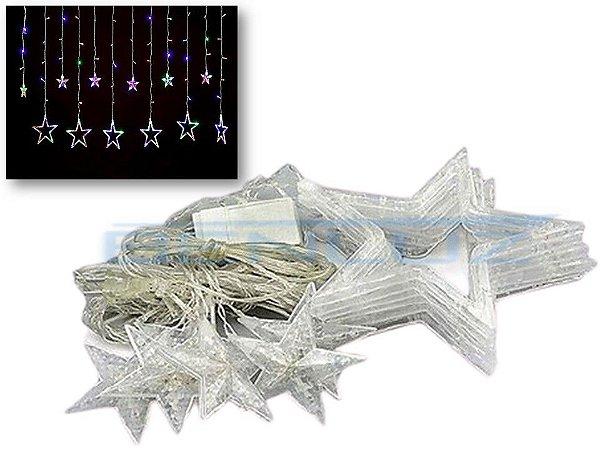 Cascata de Estrelas 138 LEDS com 8 Funções Colorida 220v