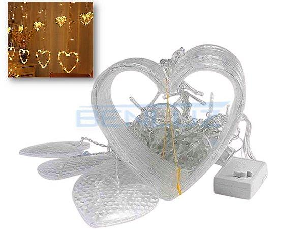 Cascata Sequencial de Corações 138 LEDS com 8 Funções Branco Morno 220V