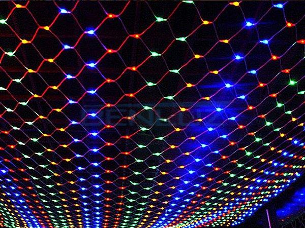 Rede 320 LEDs Fio Branco 2,5x2 Metros colorida 110V