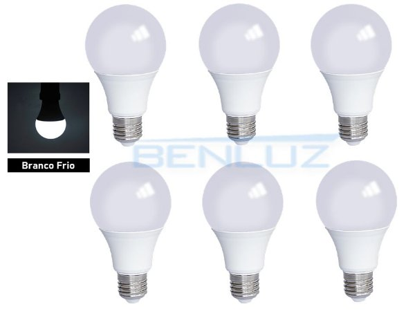 Kit 6 Lâmpadas Bulbo LED 9W Branco Frio - PROMOÇÃO