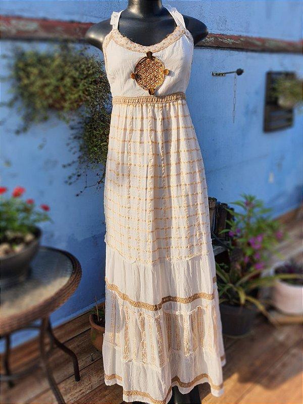 Vestido Flor da Vida Dourado
