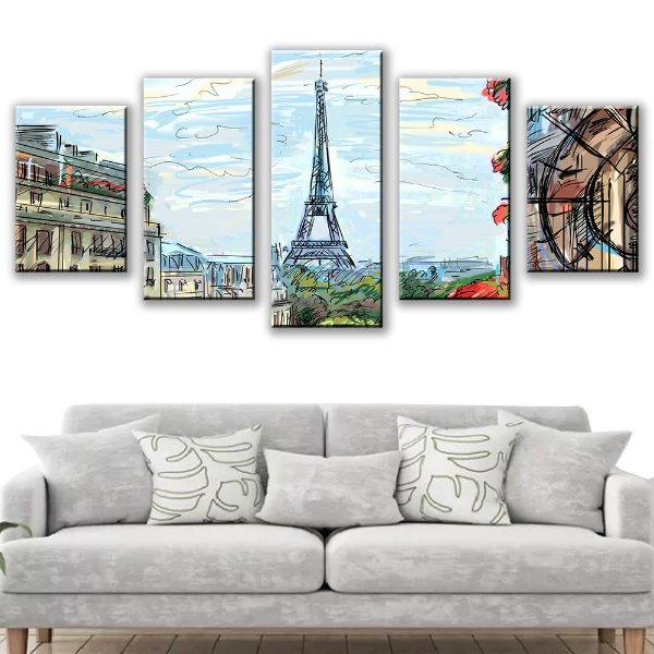 Quadro Decorativo Desenho Torre Eiffel 5 Partes 115x50cm