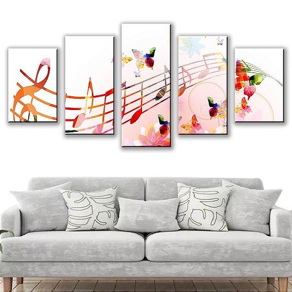 Quadro Decorativo Letras Musicais 5 Partes 115x50cm