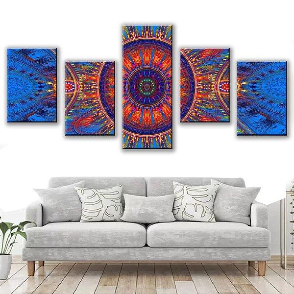 Quadro Decorativo Vitral Mandala 5 Partes 113x50cm