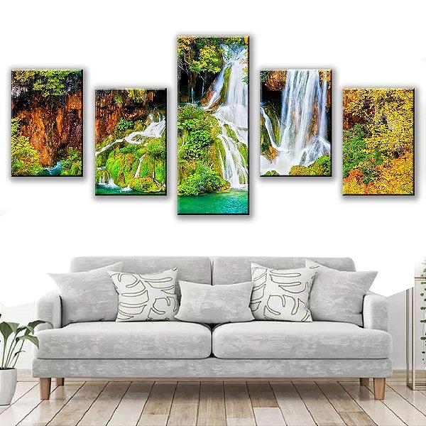 Quadro Decorativo Natureza Cachoeira 5 Partes 113x50cm