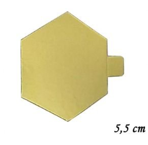 Base Laminada Dourada Hexagonal 5,5cm - 30 unid