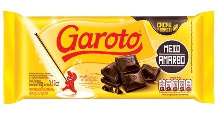 Chocolate Tablete Meio Amargo Garoto 90g