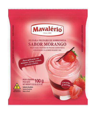 Pó para preparo de sobremesa sabor Morango Mavalério 100g