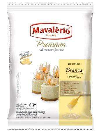 Cobertura Premium Chocolate Branco em gotas Mavalério 1,01kg - validade 27/02