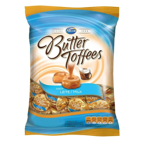 Bala Butter Toffees Leite Arcor 600g