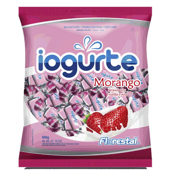 Bala Mastigável Iogurte Morango Florestal 600g