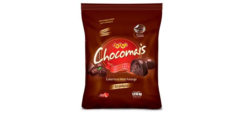 Cobertura Chocomais Meio Amargo Pedaços Jazam 1,01kg