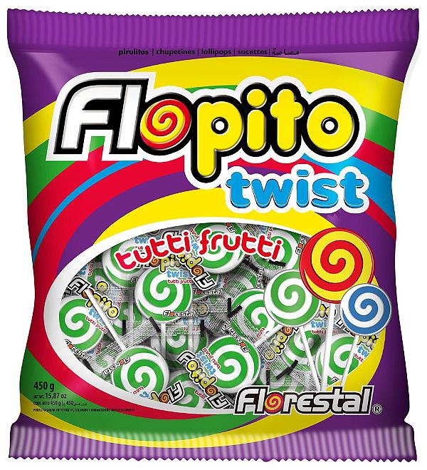 Pirulito Flopito Twist Branco/Verde Florestal 450g