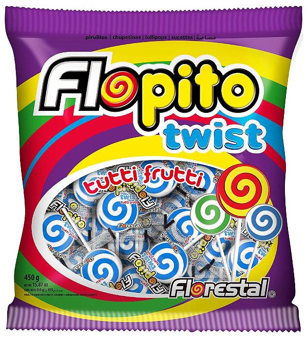 Pirulito Flopito Twist Branco/Azul Florestal 450g