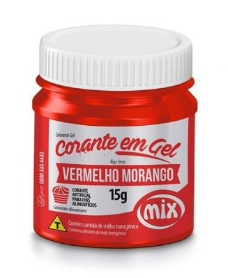 Corante Pasta Gel Vermelho Morango MIX 15g