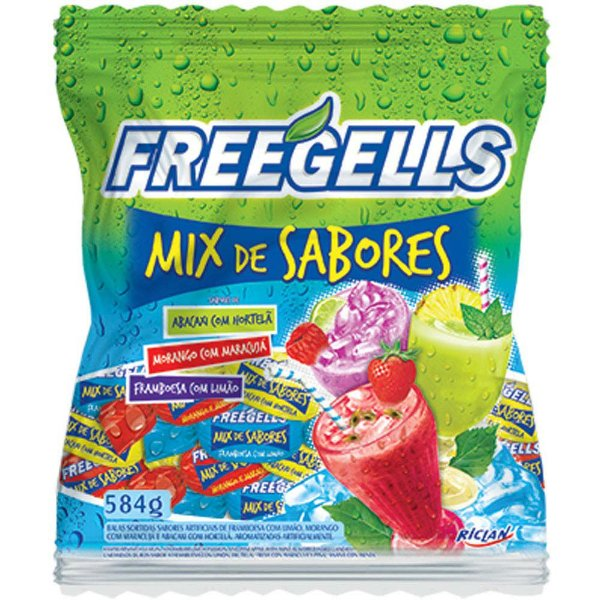Bala Freegells Mix de Sabores Riclan 584g