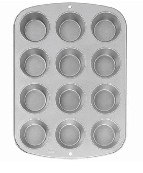 Forma de Aço Antidarente 12 Muffins Wilton