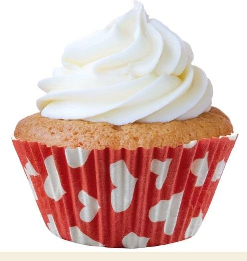 Forminha Mini Cupcake Vermelha c/ Corações Brancos Nº2 c/45 unid