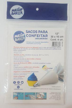 """Sacos para Confeitar Master Baker 12"""" 30cm x 16cm c/4"""