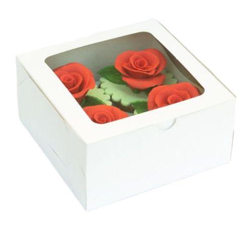 Caixa para CupCake Branca Decora 4 cavidades c/1 und