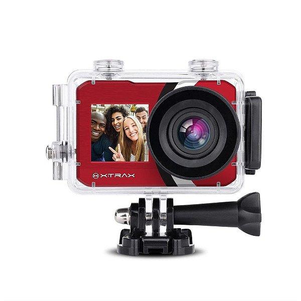 Câmera de Ação Xtrax Selfie 4K Vermelha | Com controle remoto - Original
