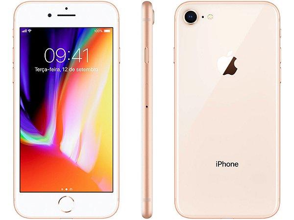 "iPhone 8 Apple 128GB   Tela Retina 4,7"" -  Câm. 12MP + Selfie 7MP - Resistente à Água"