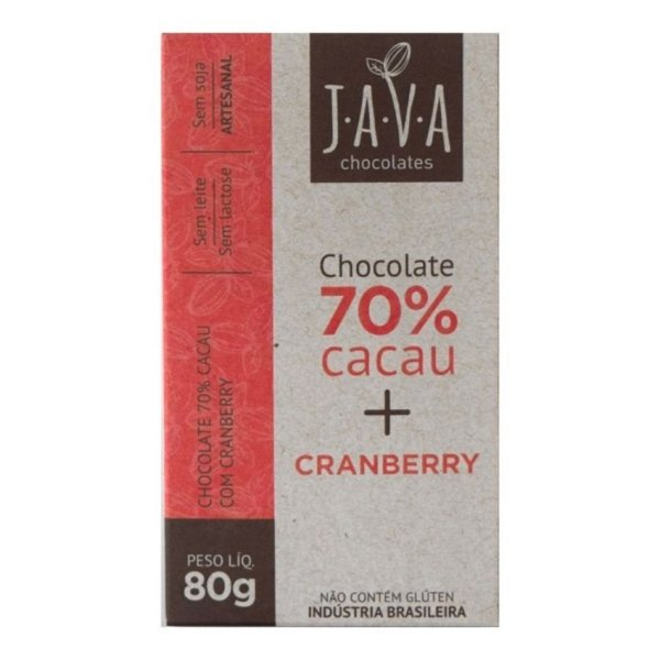 Kit Chocolate Java Vegano 70% Cacau com Cranberry - 3 tabletes de 25g cada