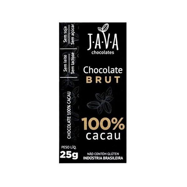 Kit Chocolate Java Vegano 100% Cacau Brut - 3 tabletes de 25g cada