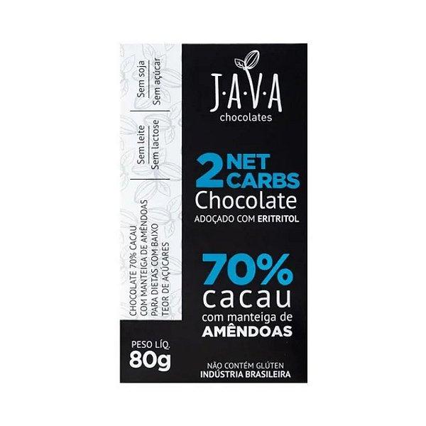 Kit Chocolate 70% Cacau com Eritritol e Amêndoas 2netcarbs Java Vegano - 3 tabletes de 25g cada
