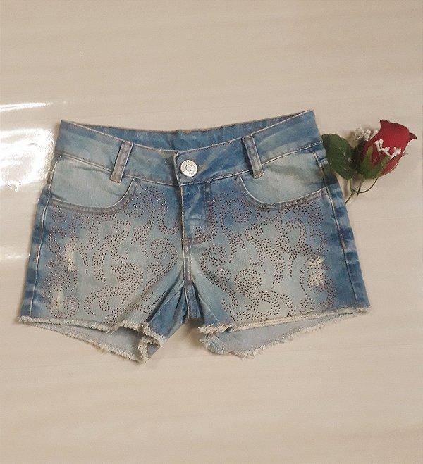 Short jeans strass frente