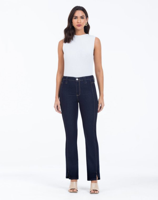 Calça Jeans Reta Nervuras Laterais SCALON