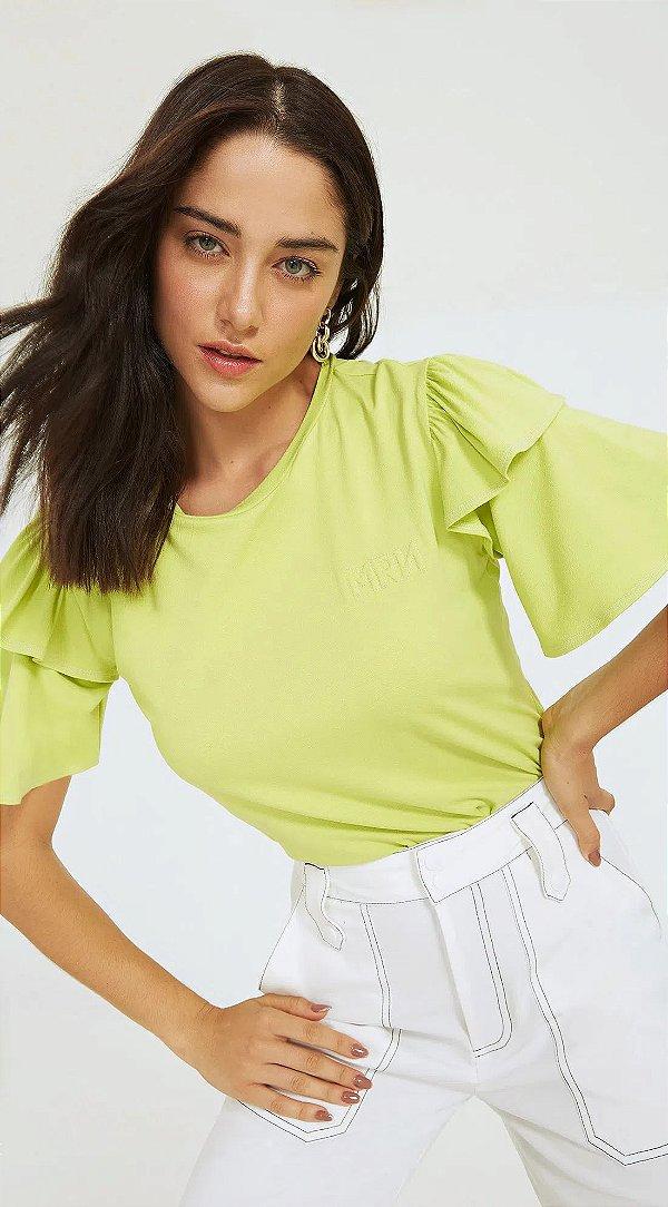 T-Shirt Morena Rosa Decote Redondo Detalhe Bordado Verde