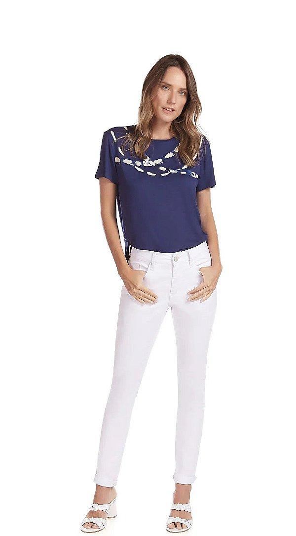 T-Shirt Decote Redondo Com Silk Azul