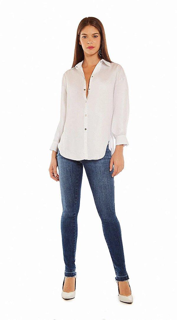 Camisa Manga Longa Alongada Branco
