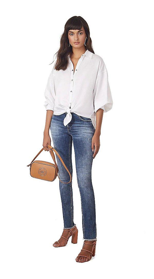 Calca Skinny Andreia Cos Intermediario Abertura Barra Jeans