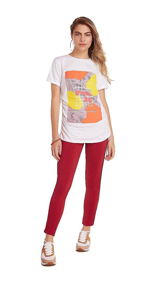 T-Shirt Decote Redondo Com Drapeado Branco