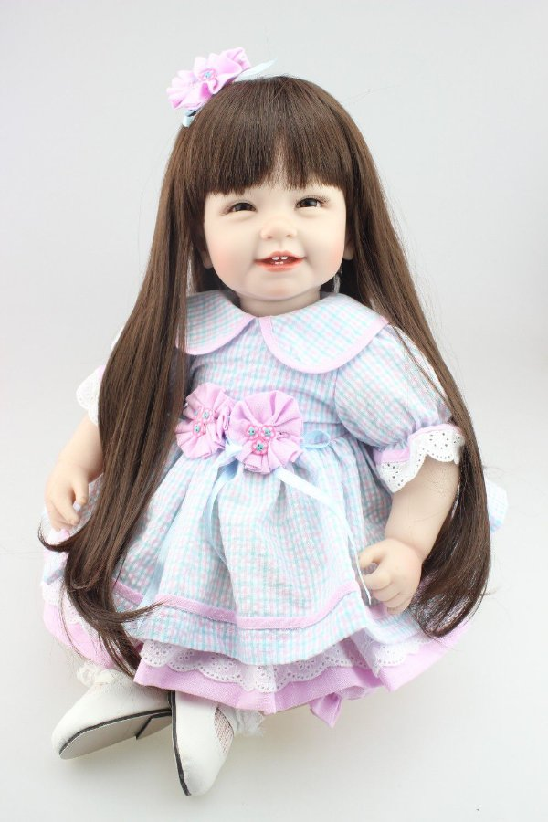 Boneca Reborn  Simpática com cabelo longo - Frete Gratis
