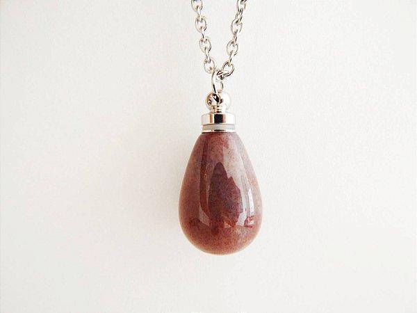 Colar Perfumeiro de Pedra Natural Gota Jaspe Sanguíneo Rosa - Prata
