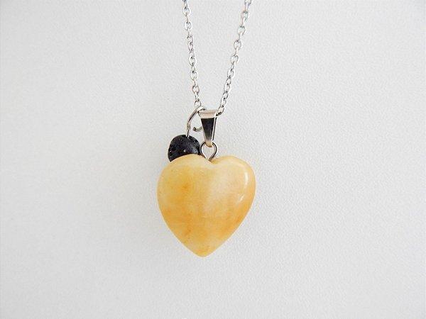 Colar Difusor Pessoal Coração de Capricórnio - Jade Amarela